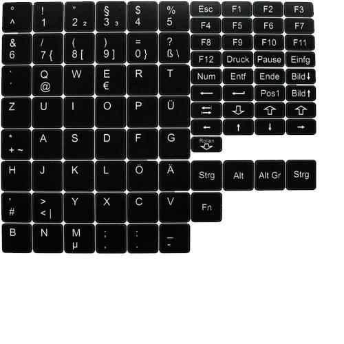 Deutsche Notebook Tastatur - Aufkleber  schwarz